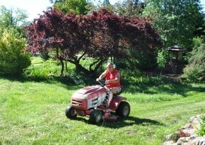 Good friend Matt comes every week and mows the Abbey's acre of lawn.
