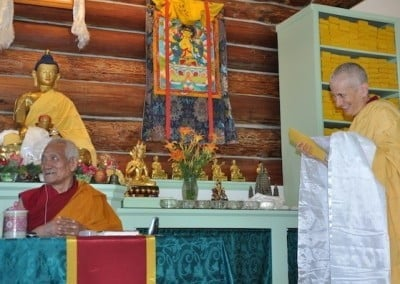 Venerable Chodron makes an offering to Geshela and requests him to return many times to continue to teach Aryadeva's Four Hundred Stanzas.