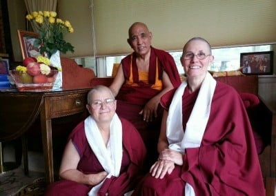 Venerable Thubten Chonyi, who is in Wisconsin for a month of study and teachings, and Venerable Tendron visit Jangtse Choje Rinpoche.