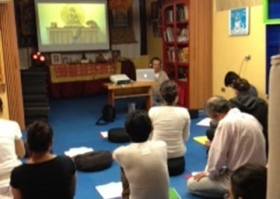 Our Dharma friends in Peru and Xalapa, Mexico gather to listen to the Friday LiveStream teachings on the Lam Rim.