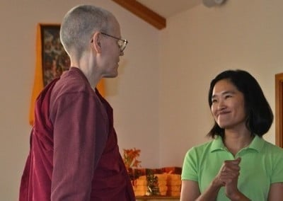 Venerable Thubten Tarpa and Kuni catch up.