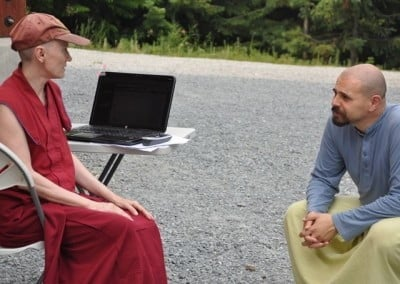 Venerable Thubten Samten and Christiaan develop the game plan for the upcoming retreat.
