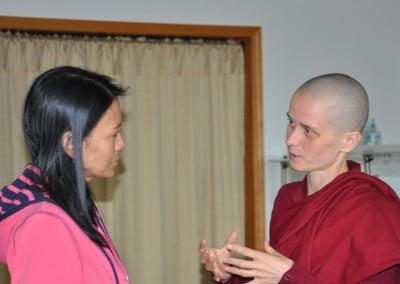 Venerable Thubten Jampa and Virginia share intensely on the retreat topic.