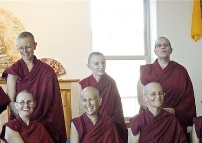 The sangha enjoys the moment.
