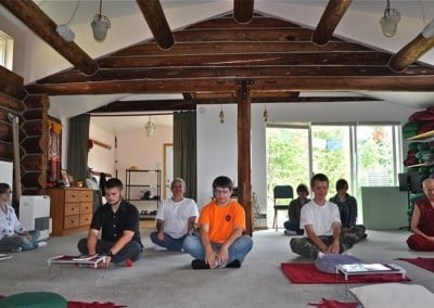 Venerable Thubten Chodron guides the teens in a short meditation.