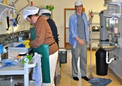 Jonah, Tracy, and Cheri help keep the dishes clean for our guests.