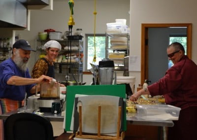 Ven. Tsultrim, Jay, and Lana were a great team preparing meals for the retreat.