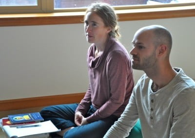 Naomi and Stephen listen attentively to the teachings.