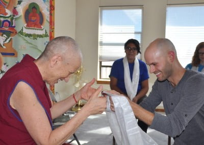 Stephen offers kata to Ven. Chodron.