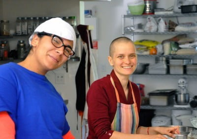 Ven. Jampa and Lupe relish their time in the kitchen.