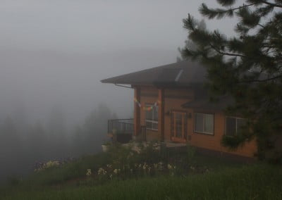 Gotami House is shrouded in a soft morning fog that cleared later that morning.