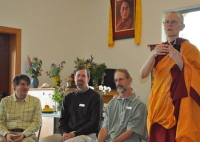 Venerable Thubten Tarpa introduces George, Paul, and Larry who played crucial roles in the building of Chenrezig Hall.