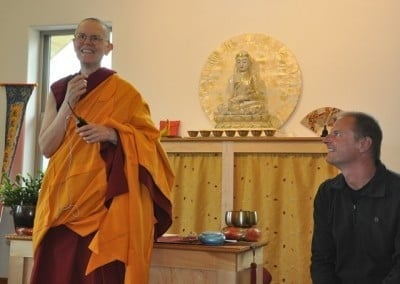 Tim Wilson, the architect for Chenrezig Hall, and Venerable Thubten Tarpa have enjoyed working together on the building.