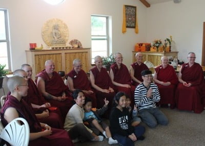 The Sangha with Richard and Joline's family. A total of 15 Singaporeans traveled to the Abbey to help consecrate Chenrezig Hall.