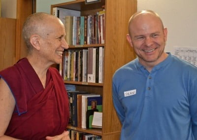 Venerable Thubten Chodron welcomes Sean.