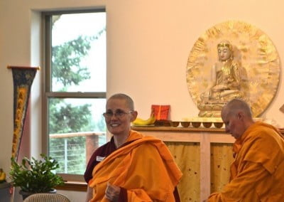 Venerable Thubten Chonyi begins the program with a welcome and instructions.