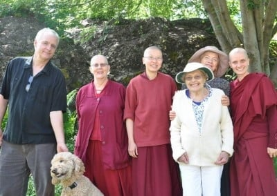 Sarah and her 91-year-old aunt Fran offer lunch to Guy and some of the Abbey sangha.