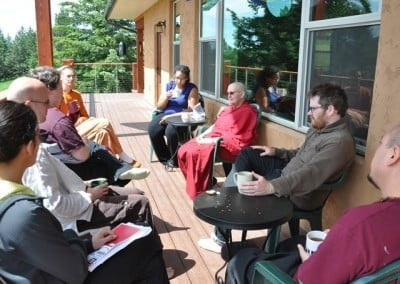 Venerable Thubten Jigme facilitates a group discussion on wise and kind self-care.