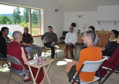 Venerable Thubten Chodron poses provocative questions for the group to contemplate and discuss.