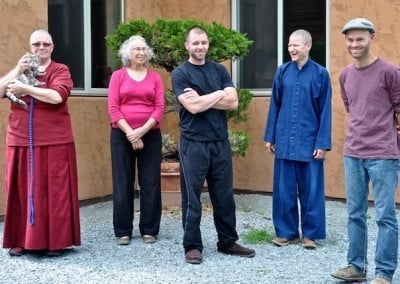 Mudita, Ven. Yeshe, Susan, Christian, Brian, and Stephen wait to send Ven. Chodron off on her travels.