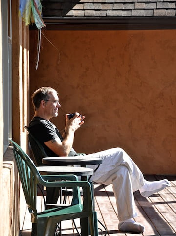 Dan sits on Chenrezig porch and considers all he has heard.