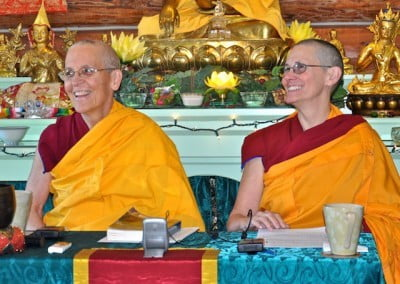 Ven. Semkye and Ven. Chonyi present the teaching with a lot of joy.