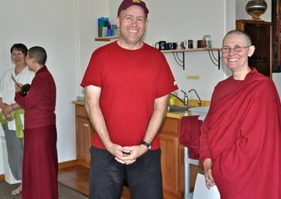 Ven. Chonyi and John share joy with all sentient beings.