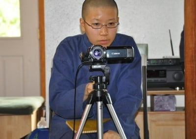 Ruby has become very proficient in videotaping the Dharma talks and gets the videos up on the web very quickly.