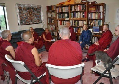 The Tibetan nuns were delighted to be able to participate in a group discussion  about the monastic ethical precepts.
