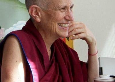 A Buddhist nun smiles