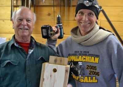 Charlie and Bob from the Garden of 1,000 Buddhas in Arlee, Montana make <br> bird boxes for our wrens.