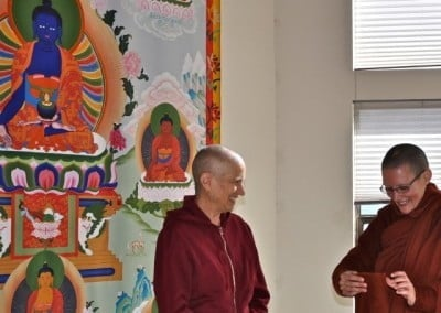 Long time friends, Venerable Chodron and Bhikshuni Tathaaloka reconnect at the Abbey.