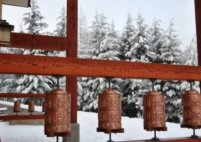 A gift from Mexican friends, the beautiful prayer wheels greet everyone as they enter Chenrezig Hall.