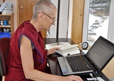 Venerable Thubten Chodron's winter retreat includes study and writing projects.