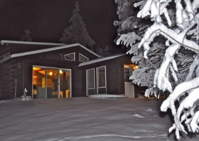 The Meditation Hall looks inviting on a snowy night.