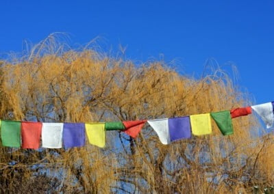 Bright prayer flags against a bright blue spring sky.