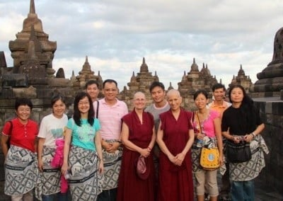 After teaching in Jakarta and Surabya, Ven. Chodron meets up with Singapore students and Ven. Chonyi at Borobudur.