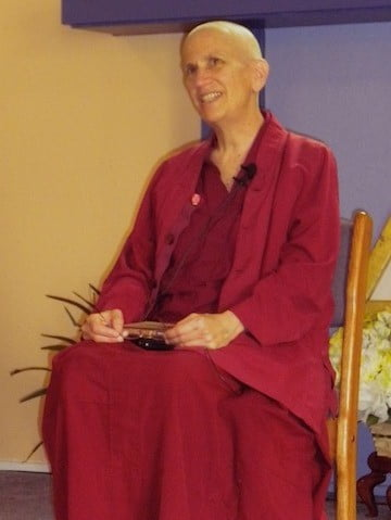 Venerable Chodron shares her thoughts <br> on the kindness of mothers during a talk at Gardenia Center in Sandpoint on Mother's Day.