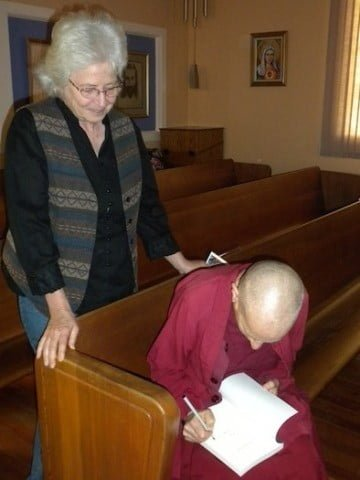 An inspired listener asks for an <br> autograph from Venerable on her newest book, <em>Don't Believe Everything You Think</em>.