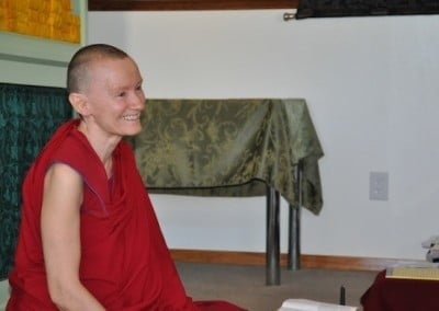 Venerable Samten enjoys leading the group discussions with our <br> visiting guests.