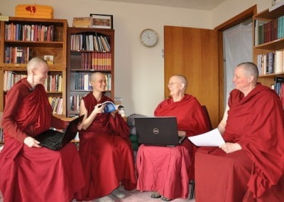 Vens Samten, Jampa, Jigme and Tsultrim comprise the facilitator group for the Abbey's SAFE program and have a lot of fun doing it.
