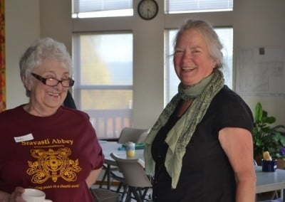 Veda and Judith connect before the retreat begins.