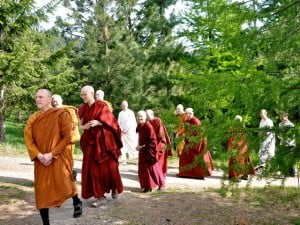 The visiting Abhayagiri monks and Abbey nuns walk to the Abbey's Meditation Hall to greet the Buddha.