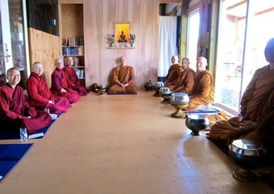 The group with Abhayagiri Abbot Ajahn Passano before the lay supporters serve lunch.