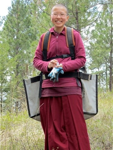 Venerable Thubten Damcho is ready to plant trees!