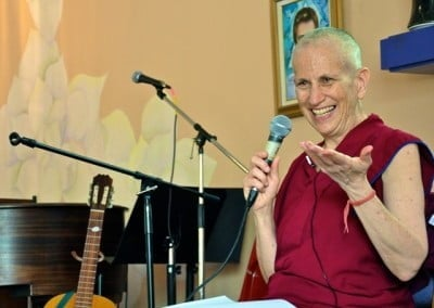 "Venerable Thubten Chodron's smile says a lot about the joy and pleasure she experiences when she shares the Dharma. Here she is ""giving a commentary"" on John Lennon's ""Imagine""."