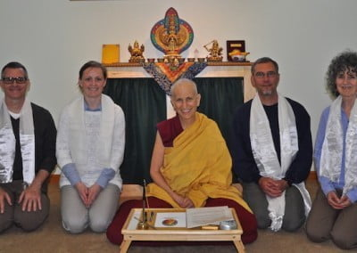 Nancy, Christopher, Janet. and Dan take refuge with Venerable Chodron.