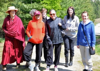 Some of the retreatants about to embark on a nature walk with Venerable Tarpa.