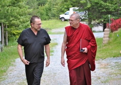 Mark and Venerable Togden get acquainted while walking to the teachings.