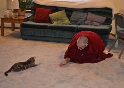 Play time for Venerable Thubten Yeshe and Mudita.